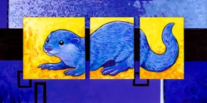 A cool blue otter triptych that I always rather liked...